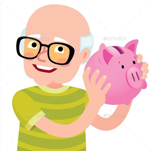 Senior Man Holding a Piggy Bank