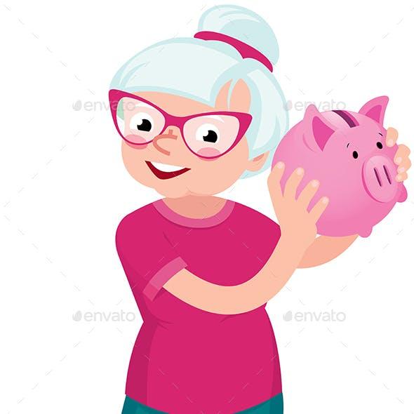 Senior Woman Holding a Piggy Bank for Money