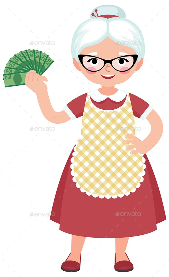 Senior Woman Housewife Holding a Bundle of Money - People Characters