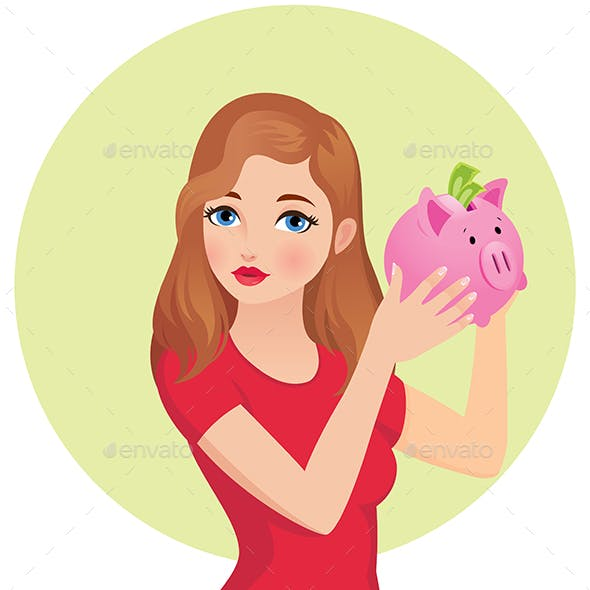 Young Woman Holding and Shaking a Piggy Bank