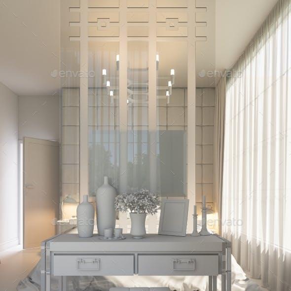 3D Render of an Interior Design of a Bedroom