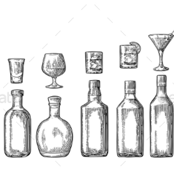 Glass and Bottled Alcohol Set