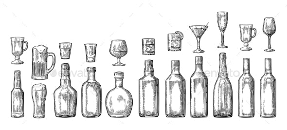 Glass and Bottled Alcohol Set - Food Objects