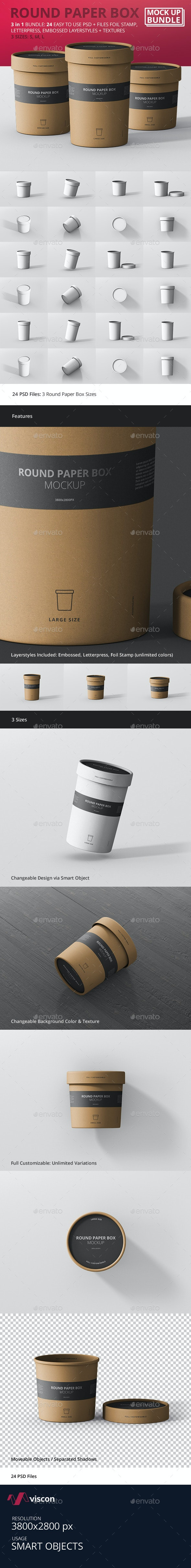 Round Paper Box Mockup Bundle - Food and Drink Packaging