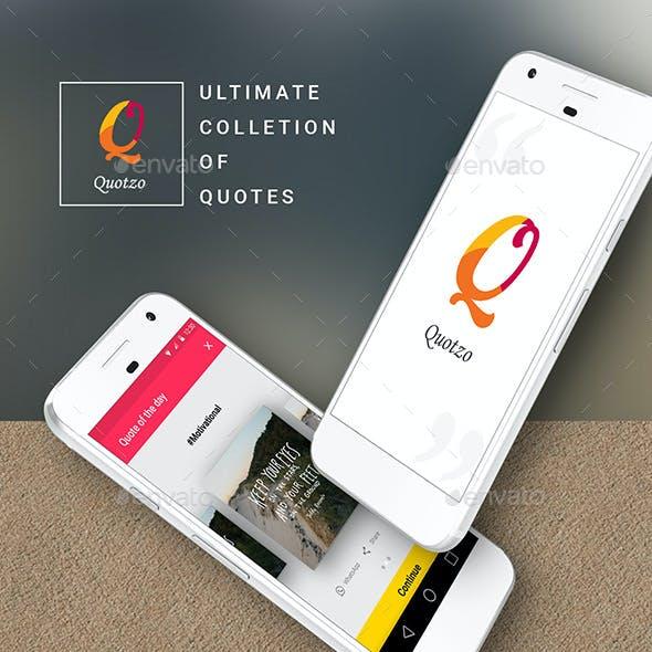 Quotes App  |  Quotzo - Android Material Design App UI Set
