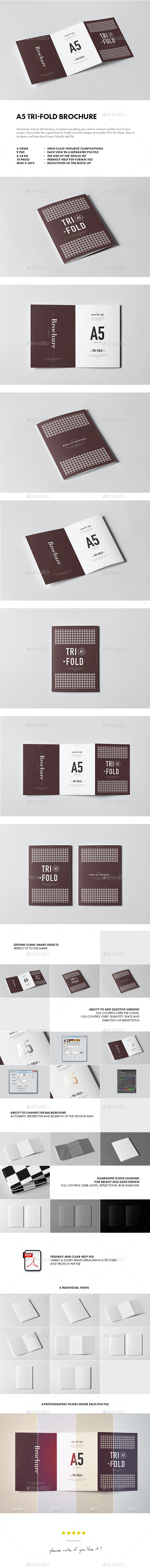Tri-Fold A5 Brochure Mock-up 2 - Brochures Print