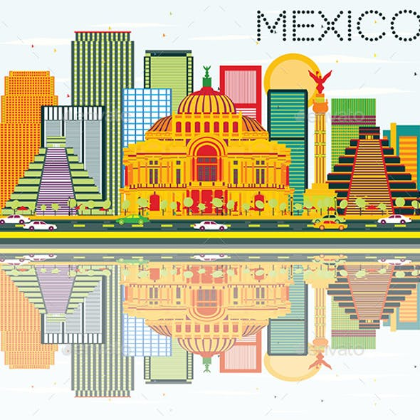 Mexico Skyline with Color Buildings, Blue Sky and Reflections