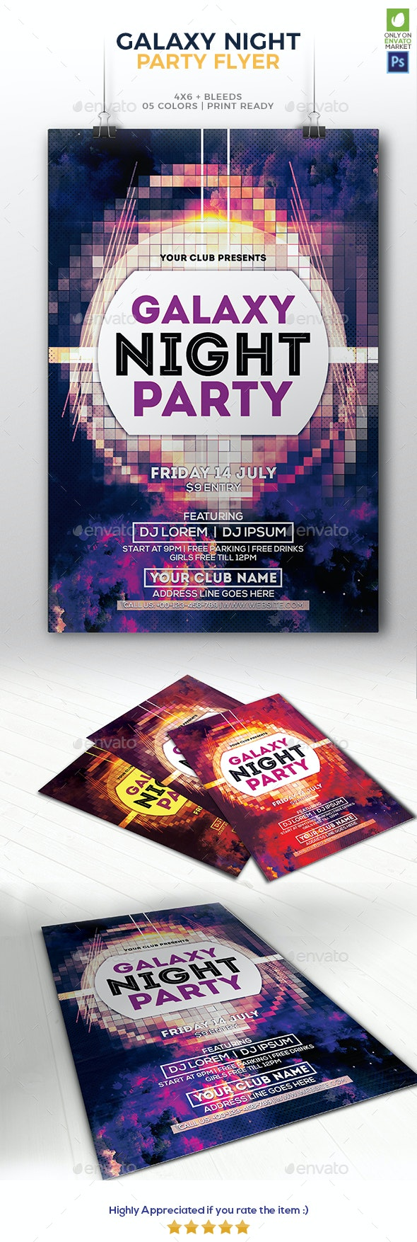 Galaxy Night Party Flyer - Clubs & Parties Events