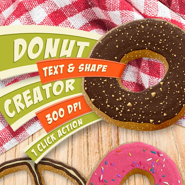 Donut Creator - Text and Shape Action - 300 DPI