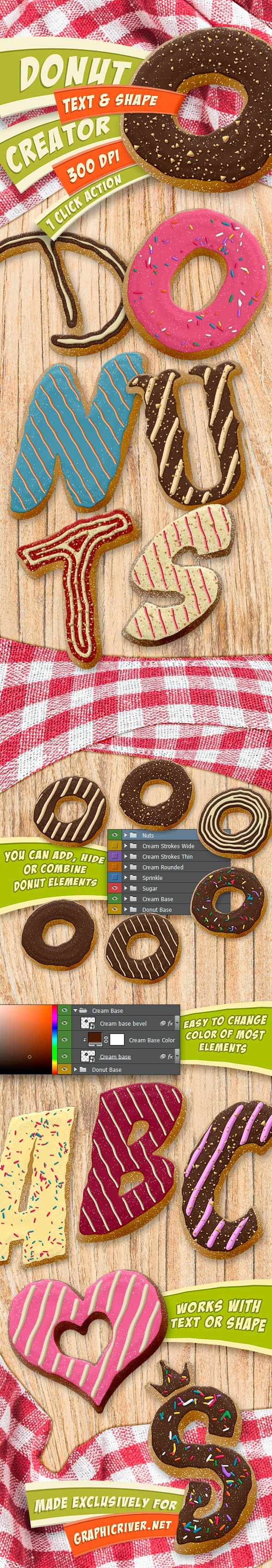 Donut Creator - Text and Shape Action - 300 DPI - Text Effects Actions