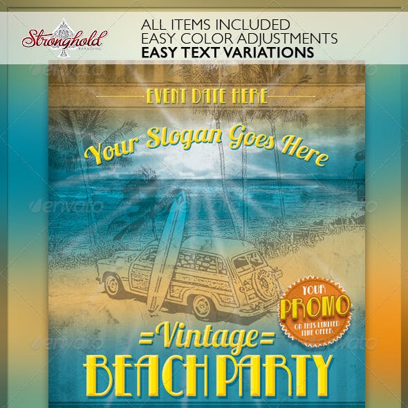 Vintage Beach Party Flyer Template