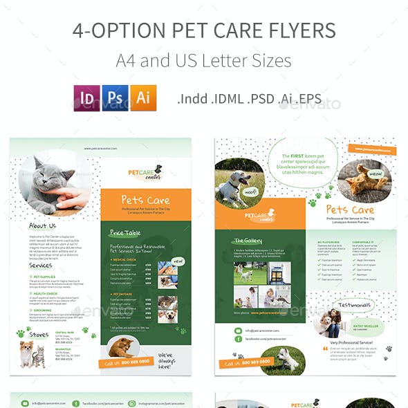 Pet Care Flyers 6 – 4 Options