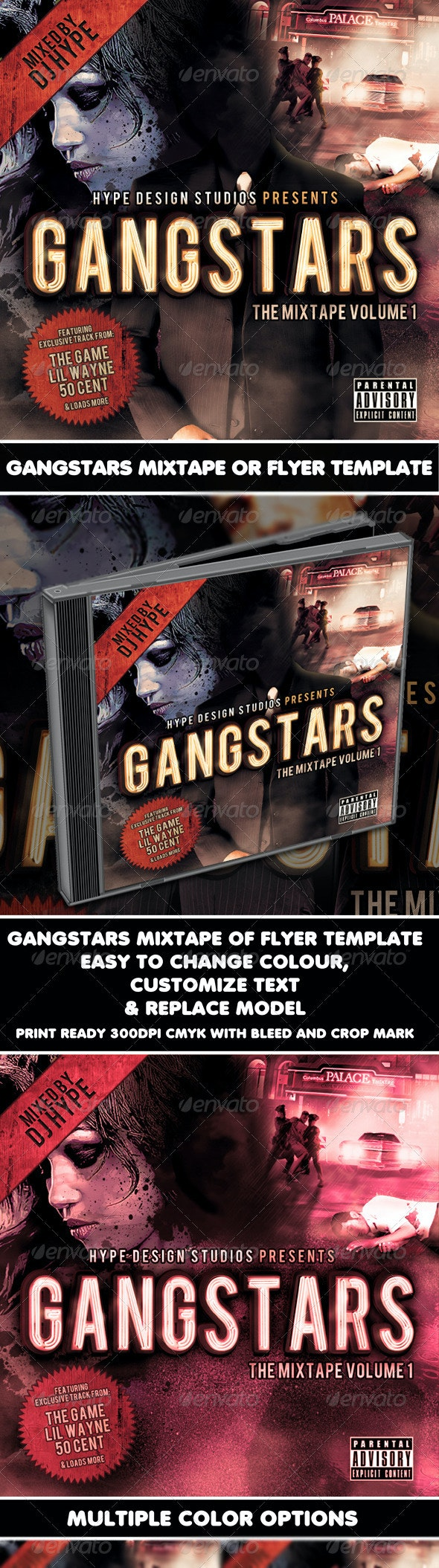 Gangstars Mixtape or Flyer Template - CD & DVD Artwork Print Templates