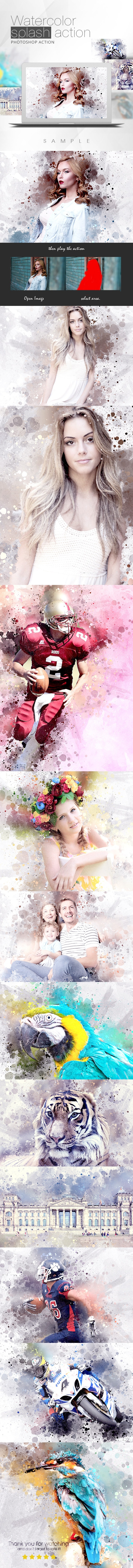 Watercolor Splash Action - Photo Effects Actions