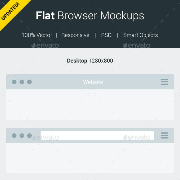 Flat Browser Mockups (Updated 2017)
