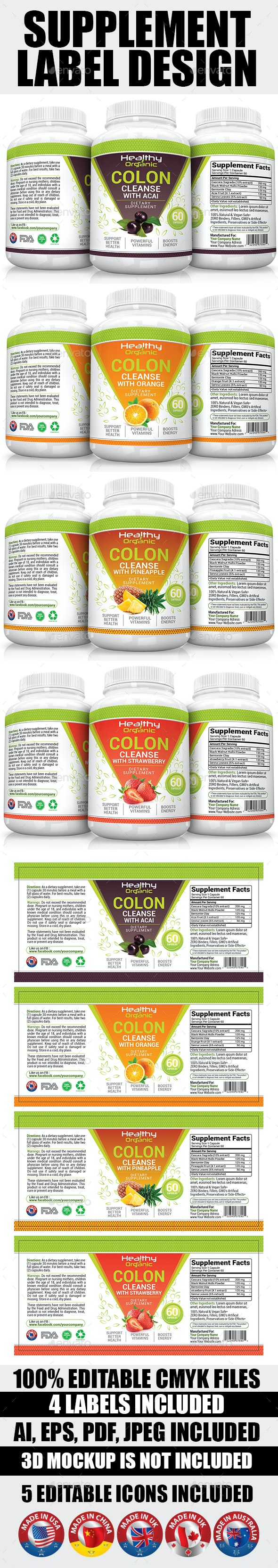 Supplement Label Template Vol-07 - Packaging Print Templates