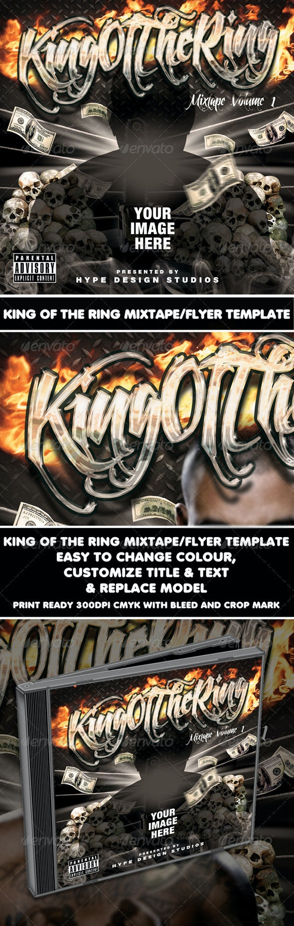 King Of The Ring Mixtape or Flyer template - Clubs & Parties Events