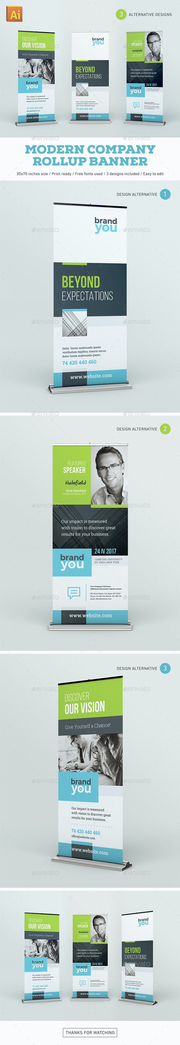 Modern Company Rollup Banner - Signage Print Templates