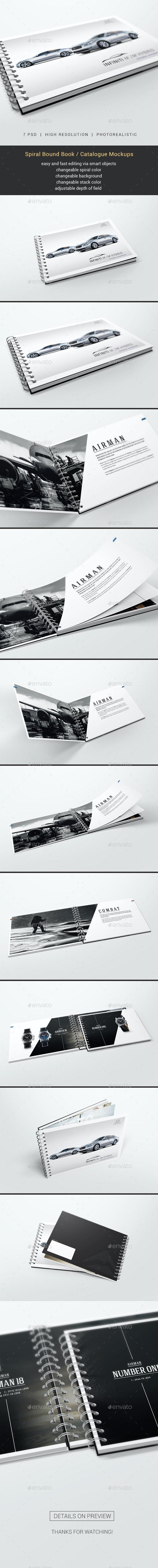 Spiral Bound Book / Catalogue Mockups - Books Print