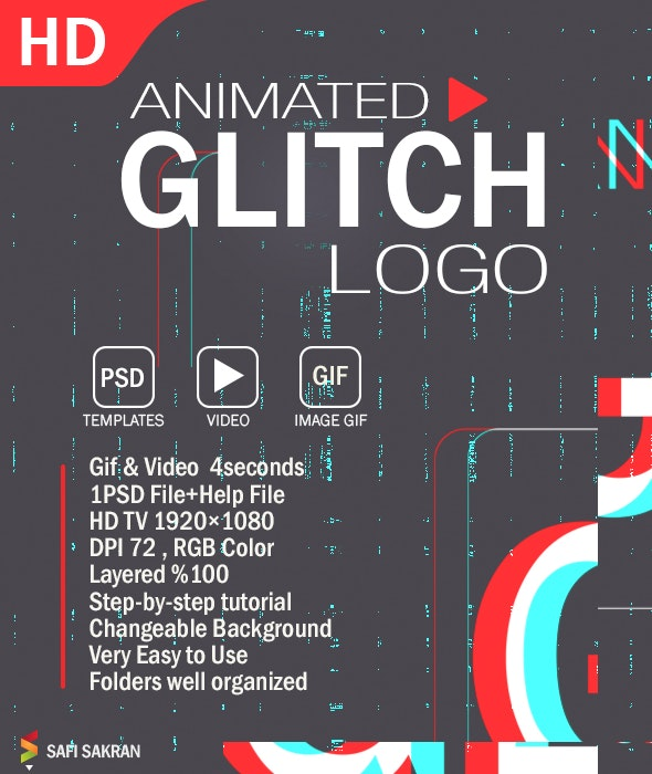 Animated Glitch Logo Photoshop Template - Text Effects Actions