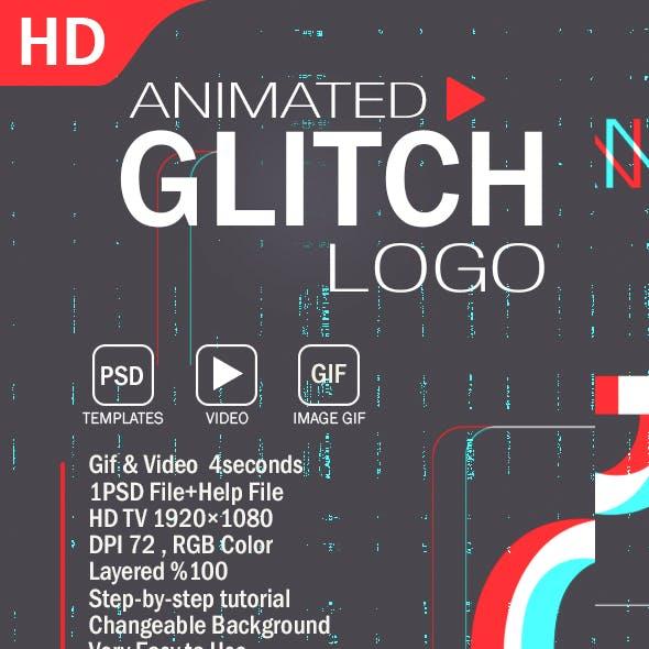 Animated Glitch Logo Photoshop Template