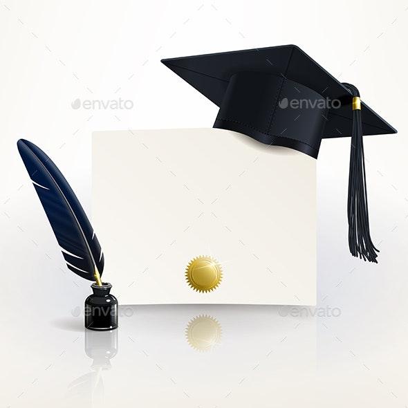 Diploma of Graduation with a Graduate Cap - Conceptual Vectors