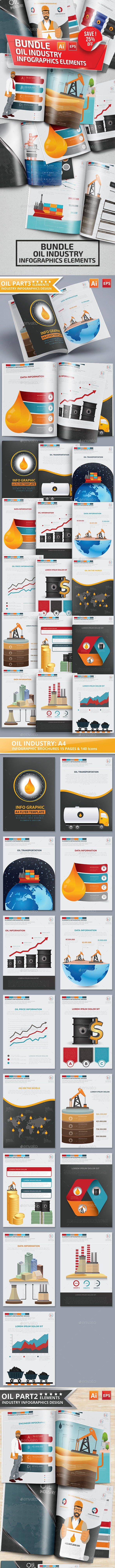 Bundle Oil Industry Infographic Elements - Infographics