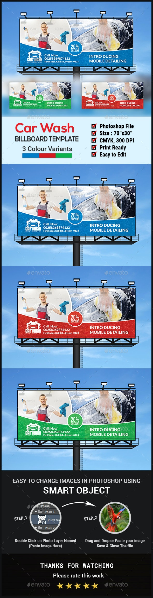 Car Wash Billboard - Signage Print Templates