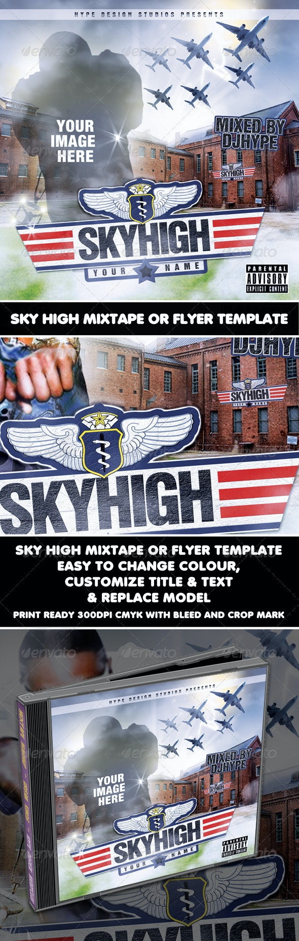 Skyhigh Mixtape or Flyer Template - CD & DVD Artwork Print Templates