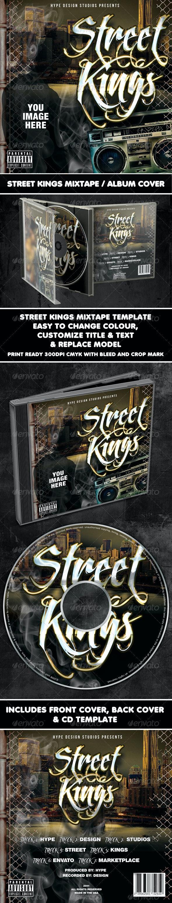Street Kings Mixtape CD or Flyer Template - CD & DVD Artwork Print Templates