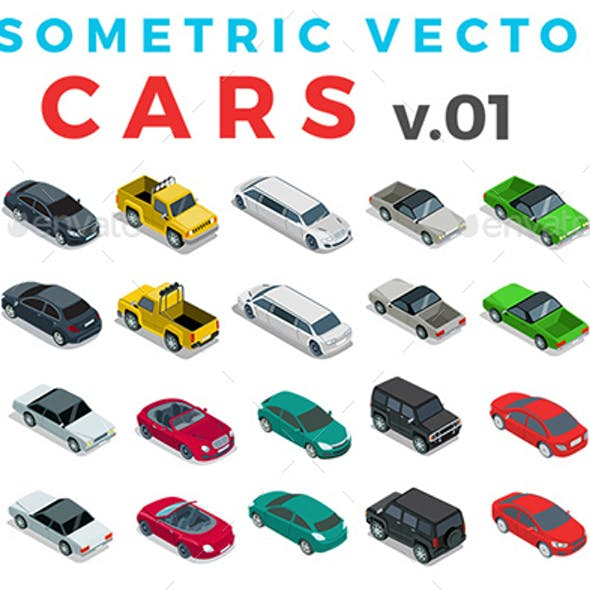 Vector Cars Set Isometric Flat Style v.1