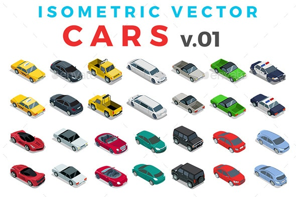 Vector Cars Set Isometric Flat Style v.1 - Vectors
