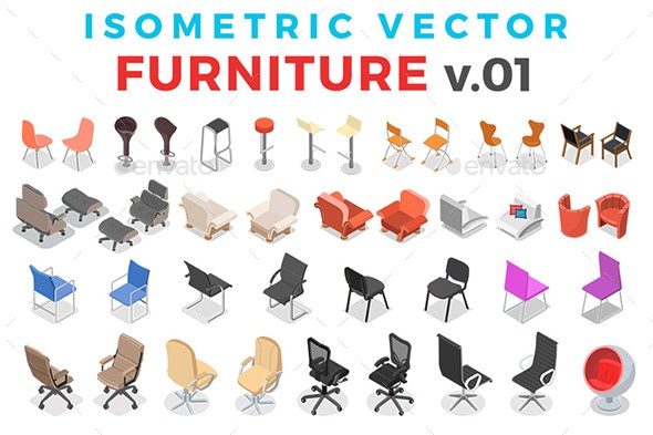 Vector Furniture Set Isometric Flat Style v.01 - Objects Vectors