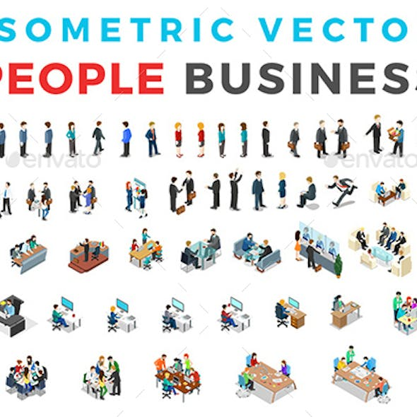 Vector Business People Set Isometric Flat Style