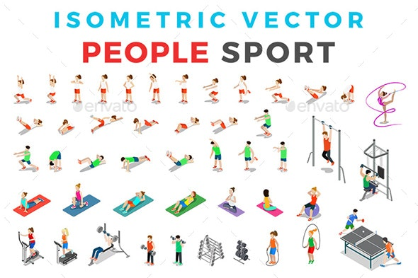 Vector Sport People Set Isometric Flat Style - People Characters