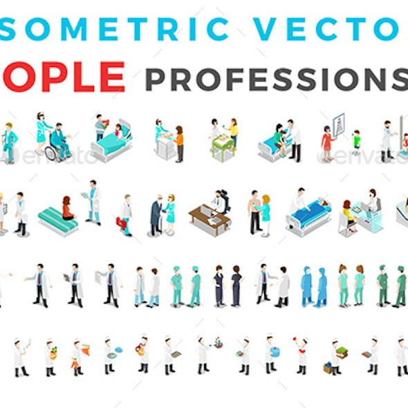 Vector Professions People Set Isometric Flat Style v.1