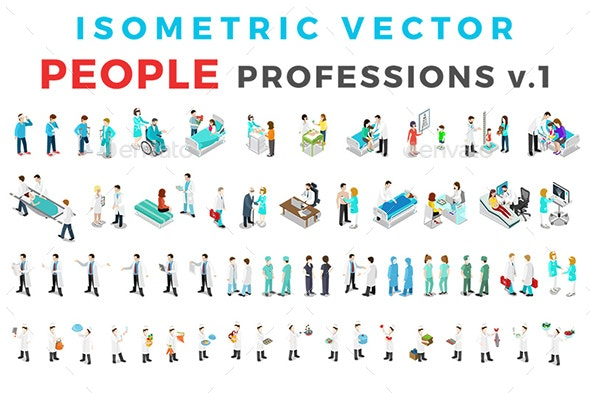 Vector Professions People Set Isometric Flat Style v.1 - People Characters