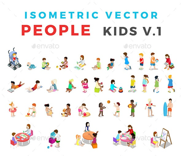 Isometric Flat Vector People Kids v1 - People Characters