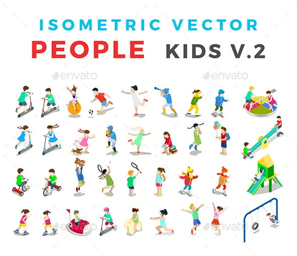 Isometric Flat Vector People Kids v2 - People Characters