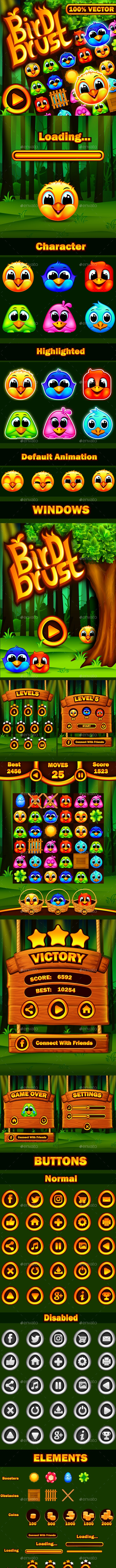Bird Brust Match-3 Puzzle Game UI - User Interfaces Game Assets