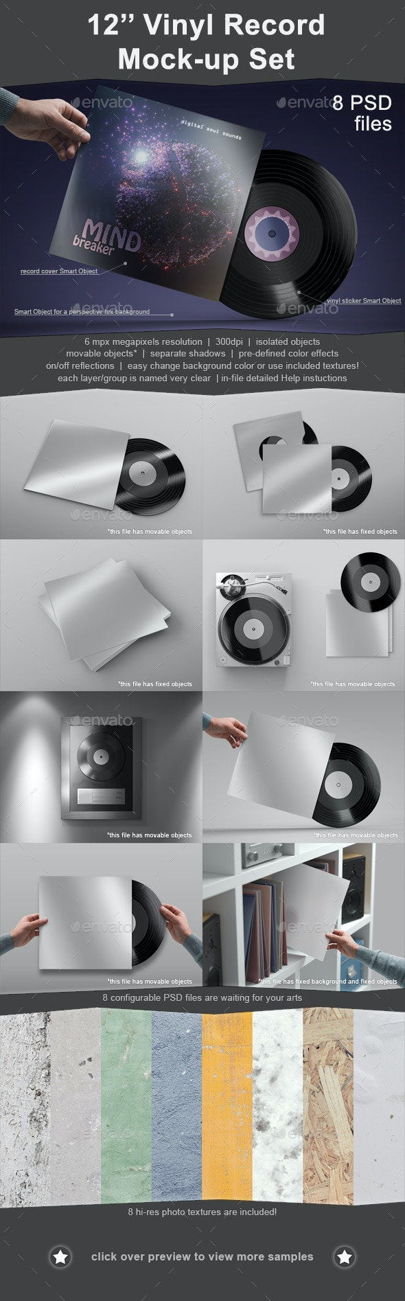 12'' Vinyl Record Mockup Set - 8 PSD - Discs Packaging