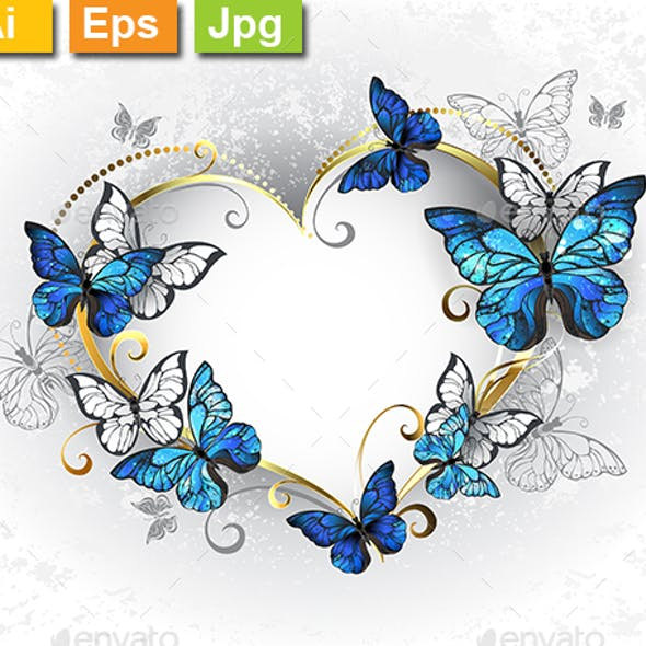 Jewelry Heart with Butterflies Morpho