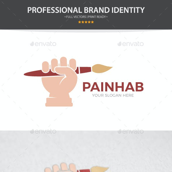 Vector Logo Combination Of a Hand With Brush
