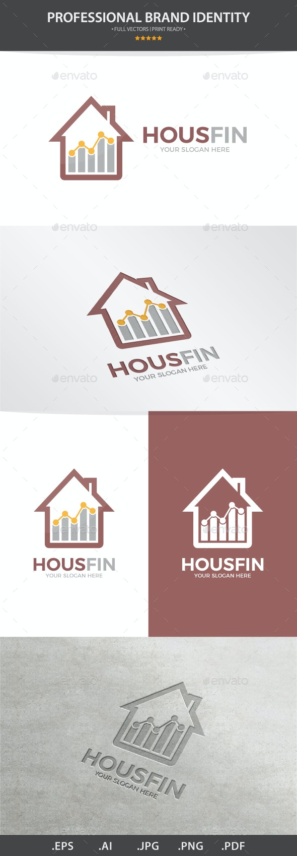 Vector Logo Combination Of a Graph And House - Buildings Logo Templates