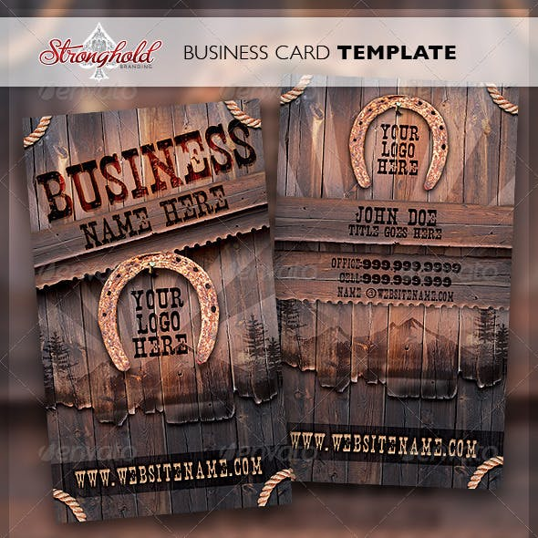 Vintage Western Wood Card Template