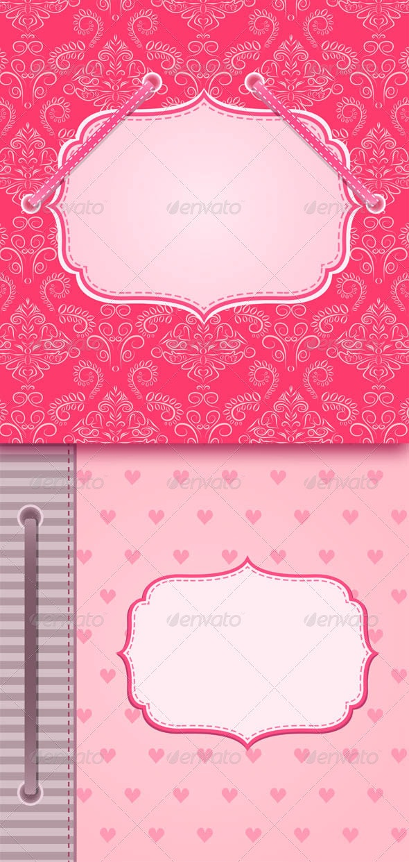 Vintage Cards with Decor and Blank Space - Backgrounds Decorative