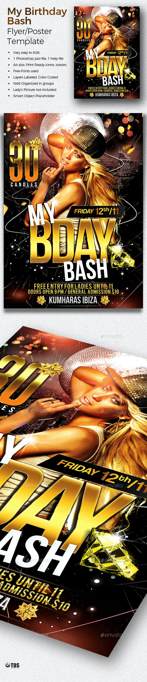 My Birthday Bash Flyer Template - Clubs & Parties Events
