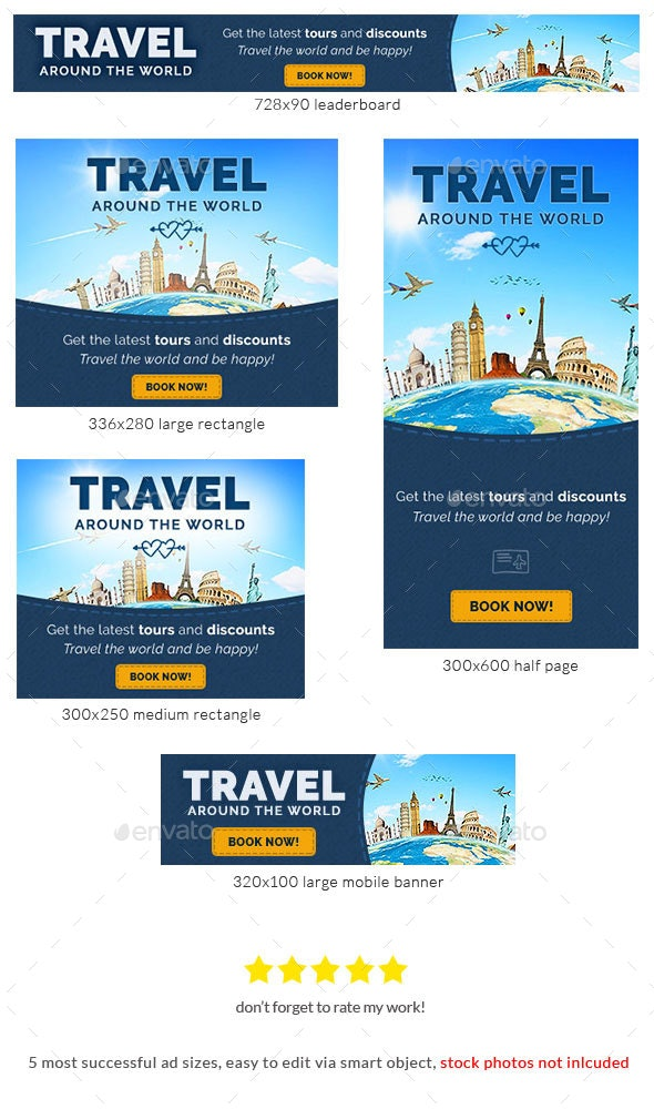 Travel and Leisure Web Banner PSD Template - Banners & Ads Web Elements