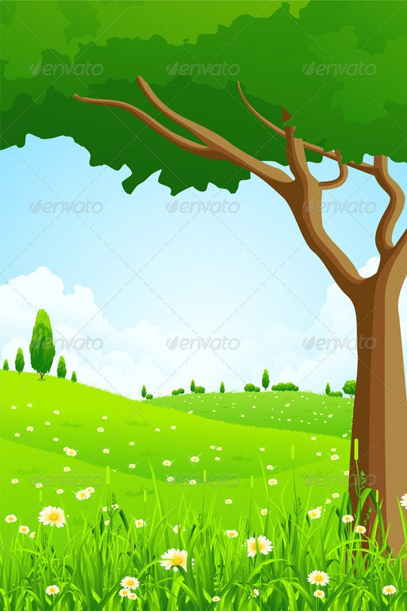 Green Landscape with Flowers and Trees - Landscapes Nature