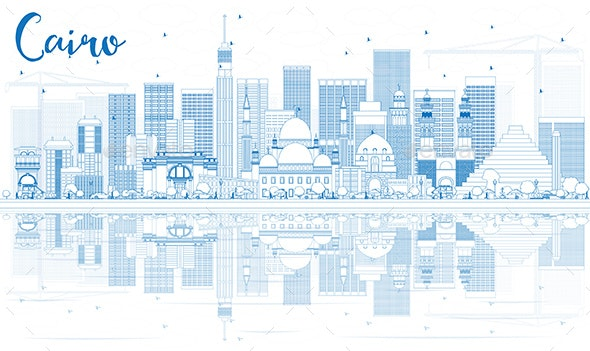 Outline Cairo Skyline with Blue Buildings and Reflections - Buildings Objects